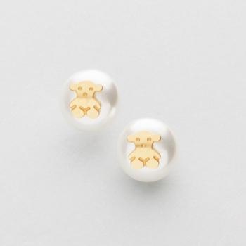 74ee7a36da4a Pendientes en oro amarillo y perla con decoración de oso.