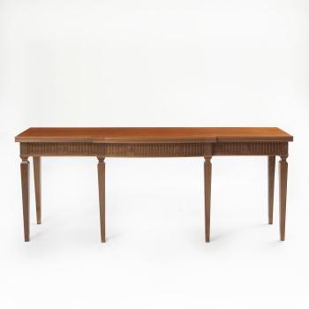 Mesa de libro de comedor en madera de caoba tallada con decoración vegetal.  Estilo Luis XVI. 750486574f7