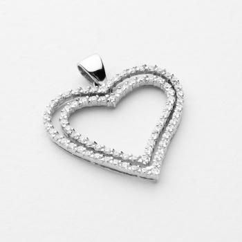7775000151bb Colgante en oro blanco de doble corazón engastado con circonitas. Peso   5