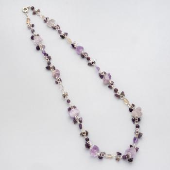 449f0d283ca1 Collar largo en plata con piedras amatistas.